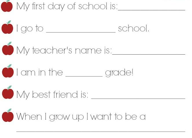 Back to School Memories Printable