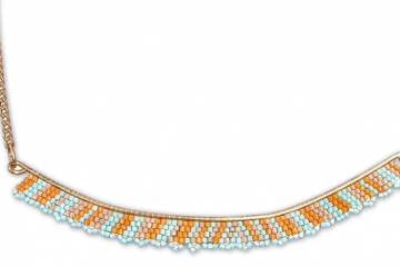 Orange Necklace with Indian Beads